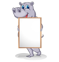 A giant animal holding an empty whiteboard vector