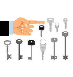 Hand hold key and keys collection vector