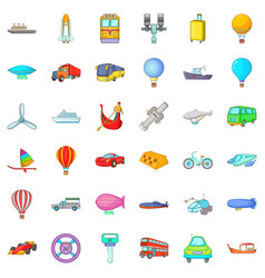 Transport with driver icons set cartoon style vector