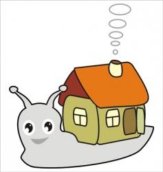 cartoon snail with a house vector image