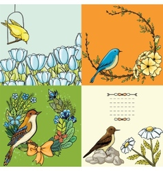 Set of floral backgrounds with birds vector