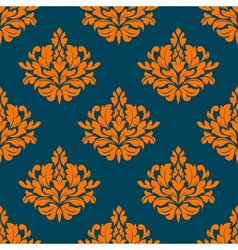 Floral seamless pattern with orange on indigo vector