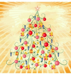Christmas tree on grunge background vector image