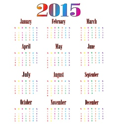 Colorful calendar for 2015 starts sunday 01 vector