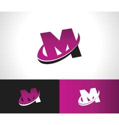 Swoosh alphabet icon m vector