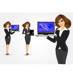 Businesswoman holding laptop and tablet vector