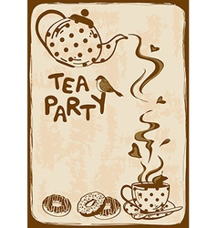 Tea party invitation with teapot and teacup vector