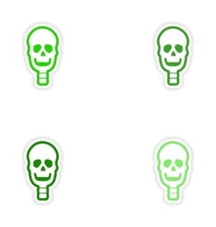 Set paper stickers on white background human skull vector