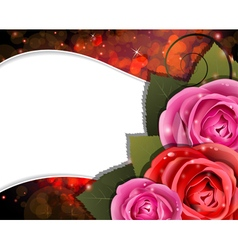 Roses on a red background valentines day card vector
