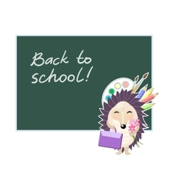 Back to school funny cartoon hedgehog going to vector
