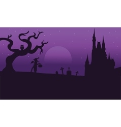Scary halloweesn backgrounds of silhouette vector