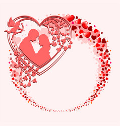 A wreath with many hearts vector