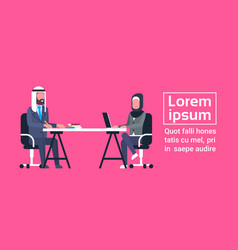 arabic business man and woman sitting at office vector image vector image