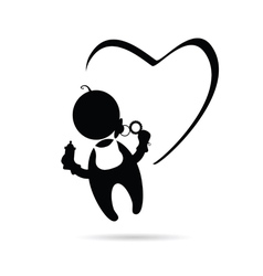 baby with heart icon vector image vector image
