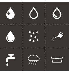 Black water icon set vector