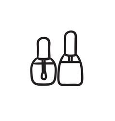 Bottles of nail polish sketch icon vector