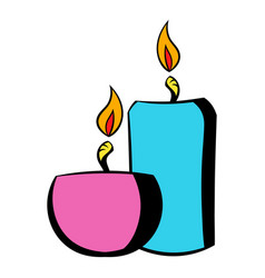 Burning candles icon icon cartoon vector