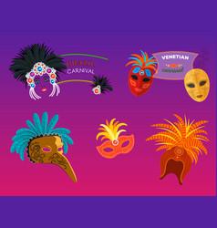 Carnival italy and brazil masks celebration vector