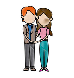 Cartoon couple family people together image vector