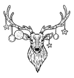 christmas deer with toys engraving vector image vector image