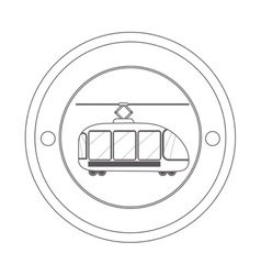 Circular contour of silhouette with trolley car vector