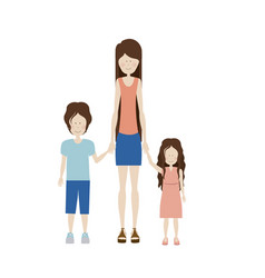 Color silhouette with kids and mom with skirt and vector