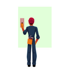 Construction worker electrician in hardhat vector