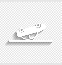 Crashed car sign white icon with soft vector