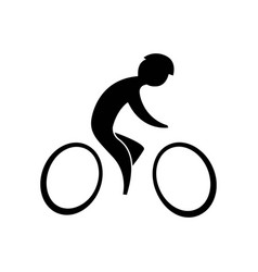 Cyclist black on a white background vector