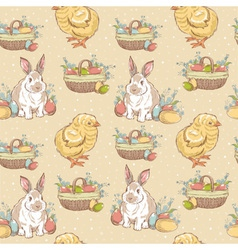 Easter vintage hand-drawn seamless pattern vector