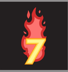 flaming number seven vector image