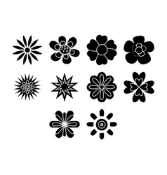 flat black flowers icon set vector image vector image