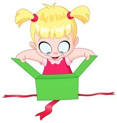 girl open gift vector image vector image
