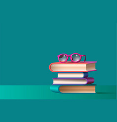 glasses on stacked books vector image