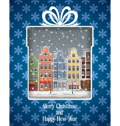 Greeting Card with Winter Town vector image vector image