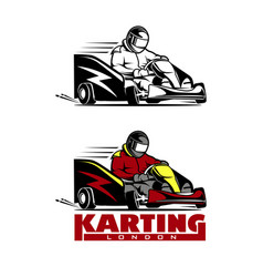 kart racing winner logo on a white vector image