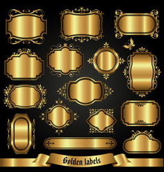 large collection of golden labels vector image
