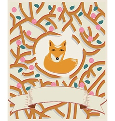 Little fox in a forest card design vector image vector image