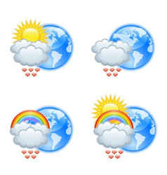 Love weather icons vector image vector image
