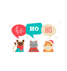merry christmas greeting banner with cute cats vector image vector image