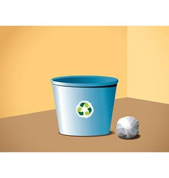 Paper ball near the recycle bin vector