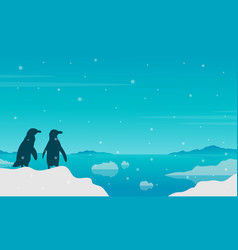 Penguin silhouette on lake with ice scenery vector