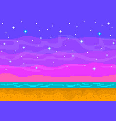 Pixel art sunset on the beach vector