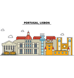 portugal lisbon city skyline architecture vector image