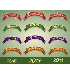 Set labels with hand-drawn lettering on green vector image vector image