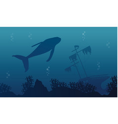 Silhouette of whale and ship landscape vector