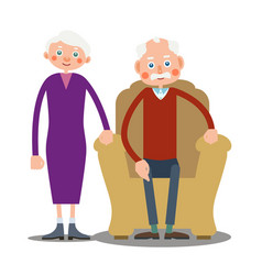 sitting old man and old woman stand together vector image vector image
