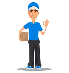 Smiling delivery man in blue uniform vector
