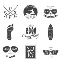 Surfer set Vintage elements and labels vector image