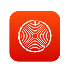 tree ring icon digital red vector image
